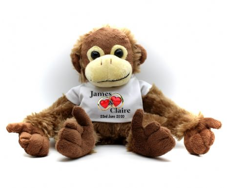 Personalised Monkey Teddy Bear N3 - Wedding Engagement Anniversary Heart Rings